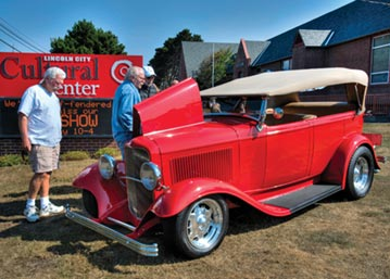 Enjoy classic rides at the Old School Classic Car Show during Cruise the Coast in Lincoln City, OR